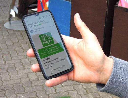"""GreenKayak: mit der entsprechenden App kann man """"sein"""" Kajak buchen und vor Ort bei der jeweiligen Bootsvermietung einchecken. Foto: Christoph Schumann, 2020"""