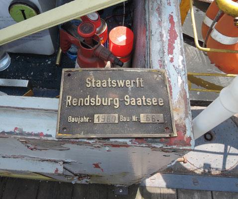"""Die """"SF 74"""" wurde 1960 auf der Staatswerft Rendsburg-Saatsee gebaut. Foto: Chr. Schumann, 2020"""