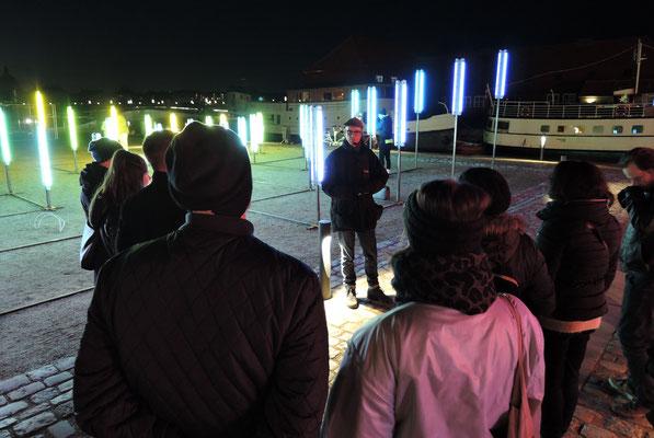 Unsere Besuchergruppe mit Guide Jesper Ravn beim Copenhagen Light Festival. Foto: Christoph Schumann, 2020