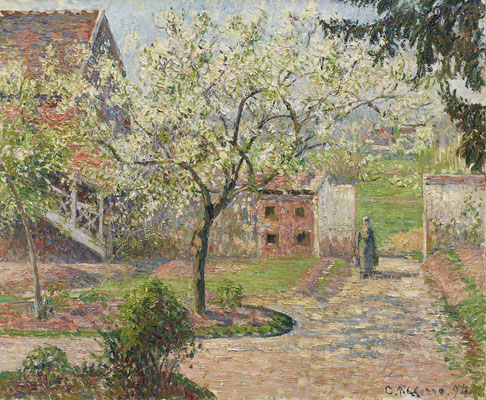 Camille Pissarro: Blühende Pflaumenbäume in Éragny. Das Haus des Künstlers, 1894. Ordrupgaard, Kopenhagen. Copyright Foto: Anders Sune Berg/PR