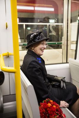 Dänemarks Königin Margrethe II. bei der Eröffnung des neuen Metro-Ringes in Kopenhagen im Herbst 2019. Foto: PR/Metroselskabet