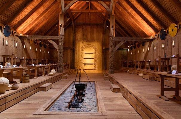 Blick in die jetzt eröffnete Königshalle im Sagnlandet Lejre. Foto: PR/Ole Malling
