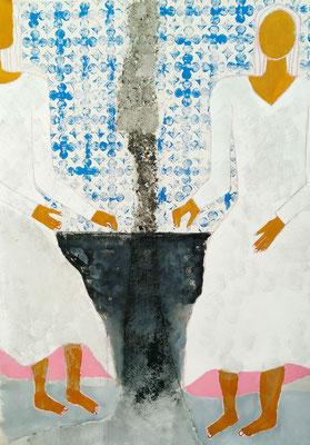 Azulejos III - Abbruch  Mischtechnik auf Leinwand  120 x 100 cm