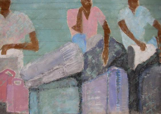 Die Wartenden: Landarbeiter mit ihren Habseligkeiten 105 x 160 cm