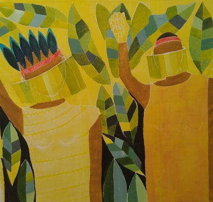 Indigene Maske  Mischtechnik auf Leinwand  130 x 140 cm
