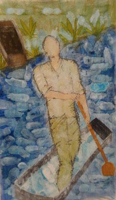 Der Ruderer  Mischtechnik auf Leinwand  120 x 70 cm