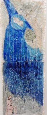 Lebensfluss  Mischtechnik auf Leinwand  140 x 50 cm