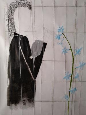 Frau mit Kind  Mischtechnik auf Papier  140 x 100 cm