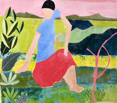 Frau und Landschaft  Mischtechnik auf Leinwand  130 x 140 cm