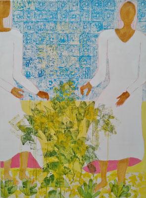 Azulejos II - Treffen der Völker Mischtechnik auf Leinwand  120 x 100 cm