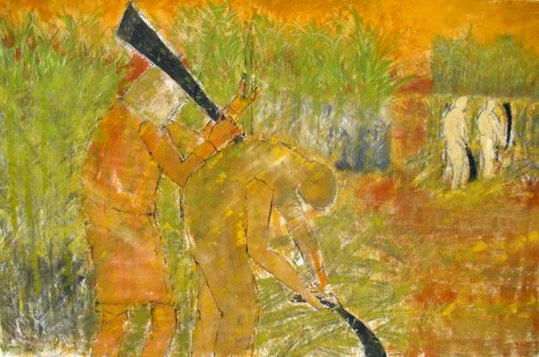 """Das Zuckerrohr schneiden (Serie """"Moderne Sklavenarbeit in Brasilien"""") 140 x 210 cm"""