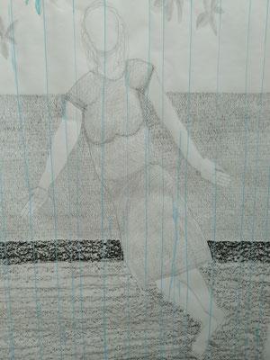 Frau in grau  Mischtechnik auf Papier  140 x 100 cm