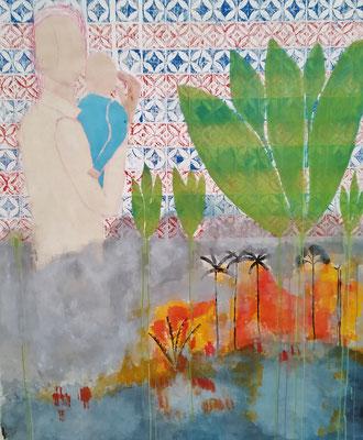 Azulejos I - Brasilien brennt  Mischtechnik auf Leinwand  160 x 150 cm