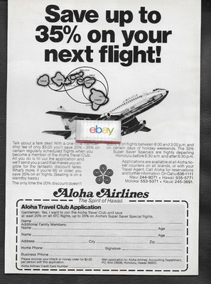 Timetable Aloha Airlines