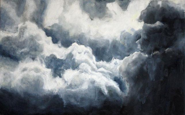 Himmel über Mariastein, Wasservermalbare Ölfarbe auf Leinwand, 72 x 116 cm Susanna Schürch, 2018