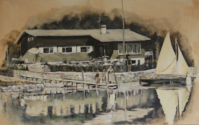 Haus am See 30ger Jahre, Akryl auf Leinwand, 72 x 116 cm, Susanna Schürch, 2019