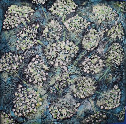 Akryl auf Teller aus Zuckerrohrfaser, 18 x 18 cm, Susanna Schürch 2020