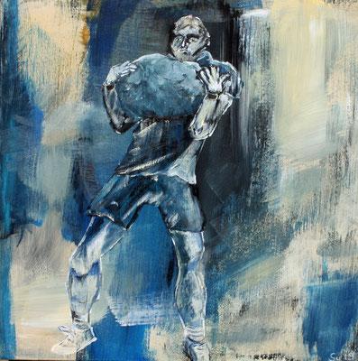 Unspunnenstein, Akryl auf Casani Holzkörper, 20 x 20 cm, Susanna Schürch, 2019