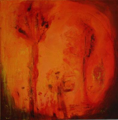 Ins Licht, Akryl auf Leinwand, 80 x 80 cm, Susanna Schürch, 2017