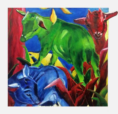 Luna Rot Grün Blau, wasservermalbare Ölfarbe auf Leinwand mit überhängendem Papierohr, ca. 80 x 80 cm, Susanna Schürch 2015, Fr.700.-