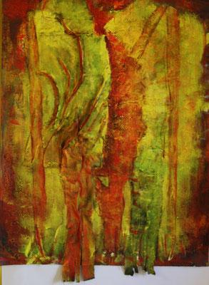 Fangorn, Akryl, Stoff und Sand auf Papier, 50 x 65 cm, Susanna Schürch 2016, Fr. 400.-