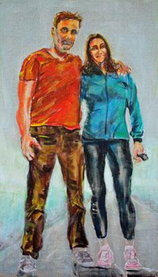 Bauer mit Frau, Akryl auf Leinwand, 30 x 50 cm, Susanna Schürch, Auftragsarbeit