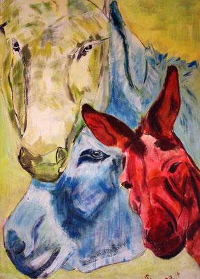 Das Trio, Acryl auf Malkarton, 50 x 70 cm, Susanna Schürch 2014, Fr.450.-,