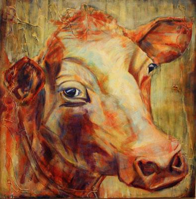 Kuh, Akryl auf Leinwand, 80 x 80 cm, Susanna Schürch, 2017, Fr. 800.-