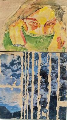 Winter am Sarnersee, Transfertechnik auf Holzkörper, 20 x 35 cm, Susanna Schürch 2016, Fr.300.-