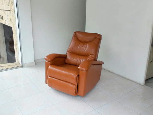 Reclinable Cuero 100% Natural color Naranja oscuro