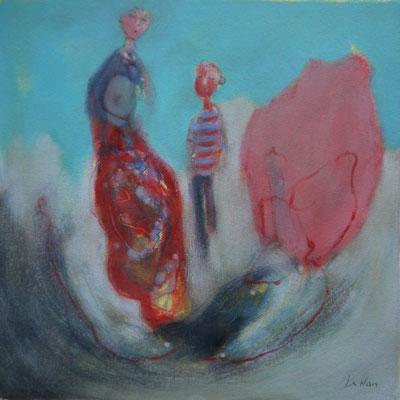 """Olivier LE NAN """"Le rocher rose"""" huile sur papier 26 cm x 26 cm (avec cadre 33 cm x 33 cm) 95 €"""