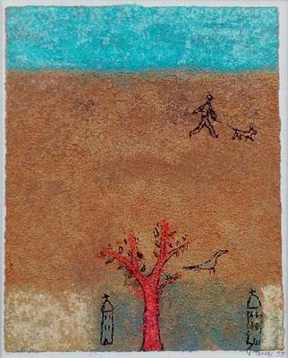 """Valérie TENÈZE """"Une promenade"""" 14 cm x 11 cm (encadrée d'un passe-partout 35 cm x 29 cm) technique mixte sur papier et sable 200 €"""