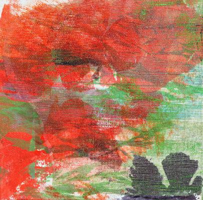 """Caty BANNEVILLE """"Bourgeonnement 1"""" 20 cm x 20 cm technique mixte sur toile 100 €"""
