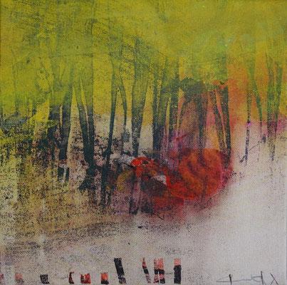 """Caty BANNEVILLE """"Coquelicots dans le bois"""" 30 cm x 30 cm encres et pigments sur toile de lin 150 €"""