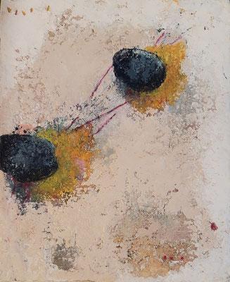 """Elisabeth Gore """"Traits d'union"""" 27 cm x 22 cm technique mixte sur toile 250 €"""