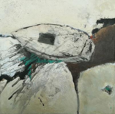 """Isabelle MALMEZAT """"Nautilus (859)"""" 30 cm x 30 cm technique mixte sur toile 350 €"""