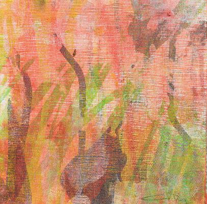 """Caty BANNEVILLE """"Bourgeonnement 2"""" 20 cm x 20 cm technique mixte sur toile 100 €"""