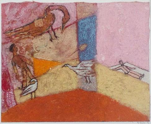 """Valérie TENÈZE """"L'aube"""" 14 cm x 17,5 cm (encadrée d'un passe-partout 27 cm x 33 cm) technique mixte sur papier et sable 250 €"""