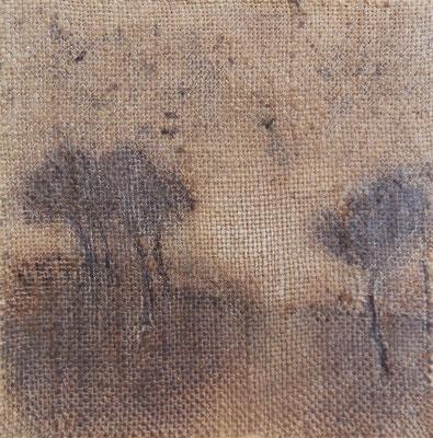 """Christian Ronceray """"Par les chemins... I"""" 20 cm x 20 cm technique mixte sur toile 200 €"""