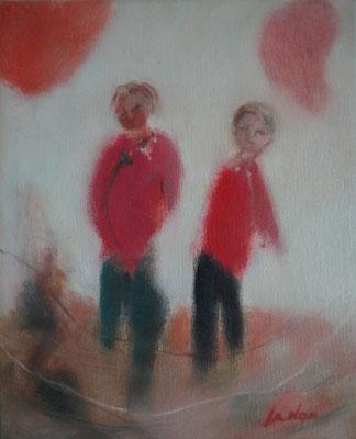 """Olivier LE NAN """"Deux frangins"""" huile sur toile 27 cm x 22 cm 190 €"""