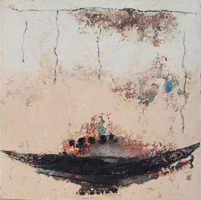"""Elisabeth Gore """"Se frayer un autre chemin"""" 20 cm x 20 cm technique mixte sur toile 200 €"""