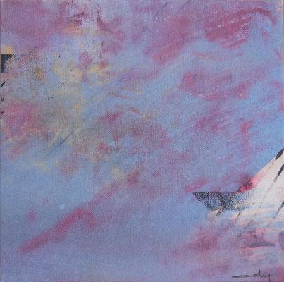 """Caty BANNEVILLE """"Changement de climat 3"""" 30 cm x 30 cm encres et pigments sur toile de lin 150 €"""