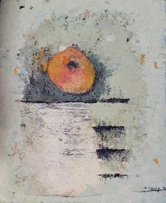 """Elisabeth Gore """"État intermédiaire"""" 27 cm x 22 cm technique mixte sur toile 250 €"""