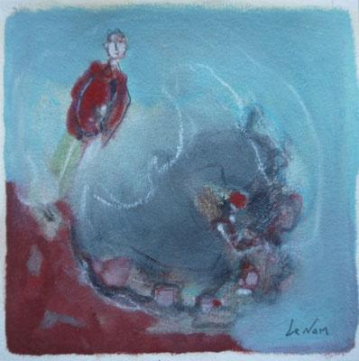 """Olivier LE NAN """"Equilibre"""" huile sur papier 14 cm x 14 cm (avec cadre 23 cm x 23 cm) VENDU"""