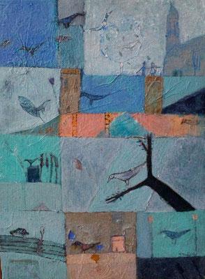 """Valérie TENÈZE """"Un dimanche bleu"""" 31 cm x 23 cm peinture sur bois 350 €"""