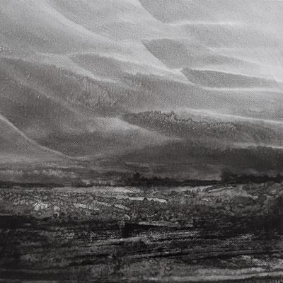 """Camille COUTURIER """"Encre n°12"""" 40 cm x 40 cm encre de Chine sur papier marouflé sur bois 500 €"""