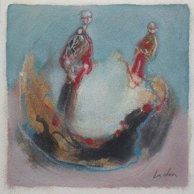 """Olivier LE NAN """"Valse lumineuse"""" 14 cm x 14 cm (avec cadre 23 cm x 23 cm) huile sur papier 60 €"""