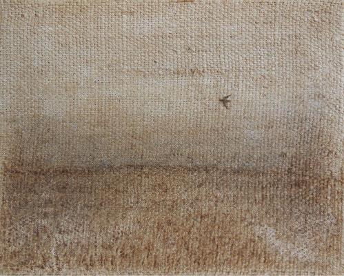 """Christian Ronceray """"Seul, l'oiseau VII"""" 24 cm x 30 cm technique mixte sur toile 240 €"""