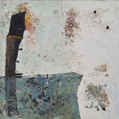 """Elisabeth Gore """"La partie visible"""" 20 cm x 20 cm technique mixte sur toile 200 €"""