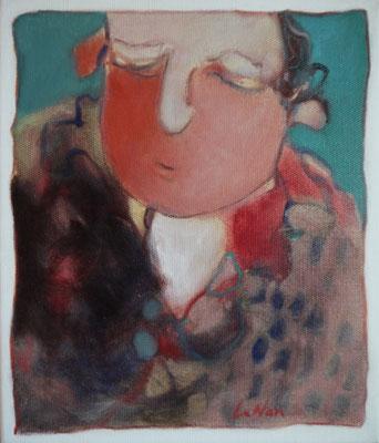 """Olivier LE NAN """"Tête"""" huile sur toile 27 cm x 23 cm 190 €"""